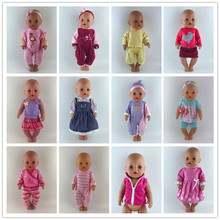 Fashion Clothes Suit Fit For 43cm Baby Doll 17 Inch Dolls Clothes,Children best Birthday Gift(China)