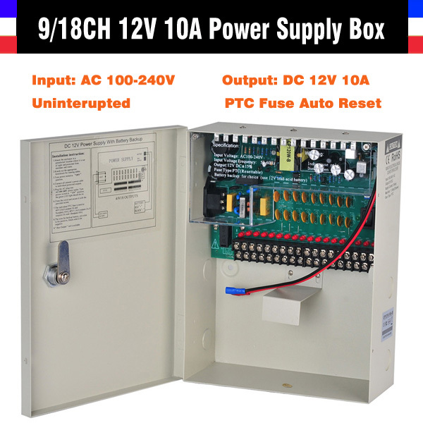High Quality CE FCC ROHS Certification 9CH 18CH CCTV Power Supply 12V 10A Uninterrupted CCTV Power