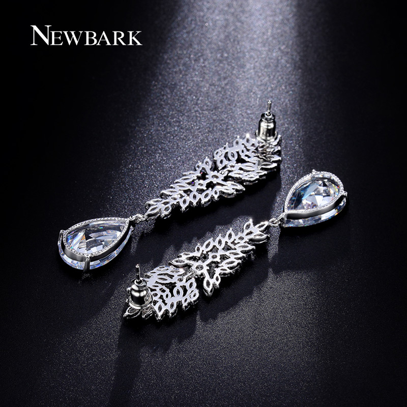 NEWBARK Crystal Teardrop Drop Earrings Silver Color Cubic Zirconia Long  Bridal Wedding Earrings Fashion Jewelry Brincos-in Drop Earrings from  Jewelry ... 7862d4d6d2cb