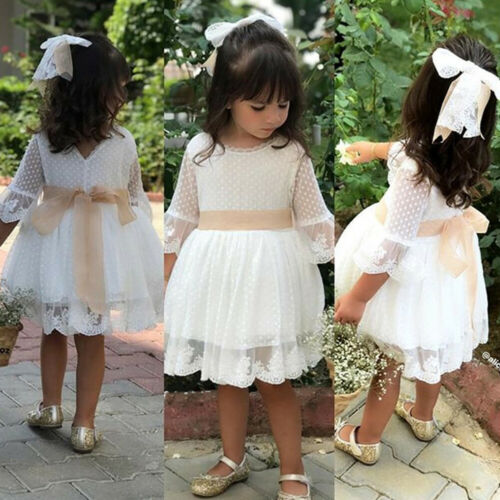Spring Girls Bridesmaid White Dress Baby Toddler Kids Knee-Length Fashion Party Lace Long Sleeve Bow Wedding Princess Dresses 5