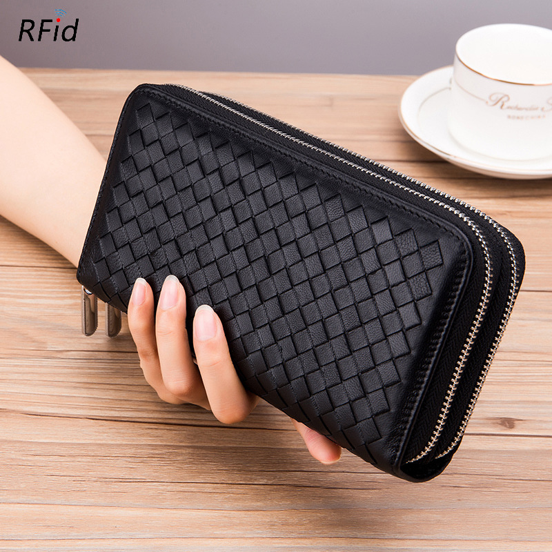 Fashion MEN Long Wallet Genuine Leather Women Clutch Purse Soft Sheepskin Lady Double Zipper RFID Hand Bags Portefeuille Femme fashion girl change clasp purse money coin purse portable multifunction long female clutch travel wallet portefeuille femme cuir