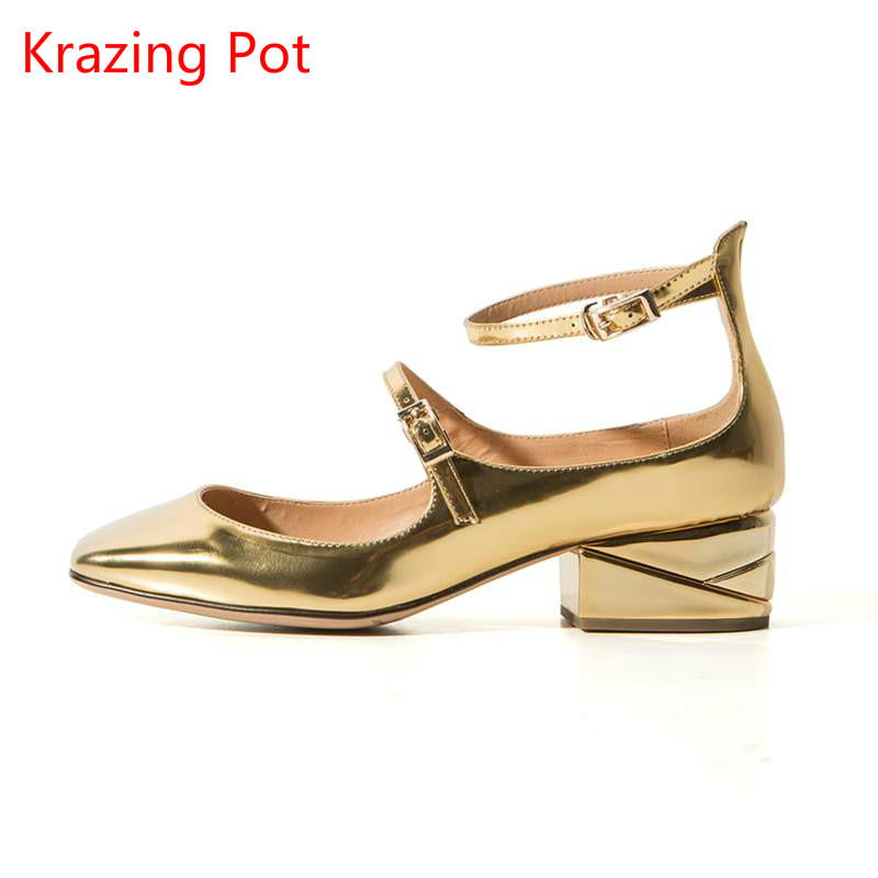Подробнее о Krazing Pot new fashion brand gold shoes patent leather square toe preppy style med heels buckle women pumps mary jane shoes L90 krazing pot new fashion brand gold shoes patent leather square toe preppy style med heels buckle women pumps mary jane shoes 90