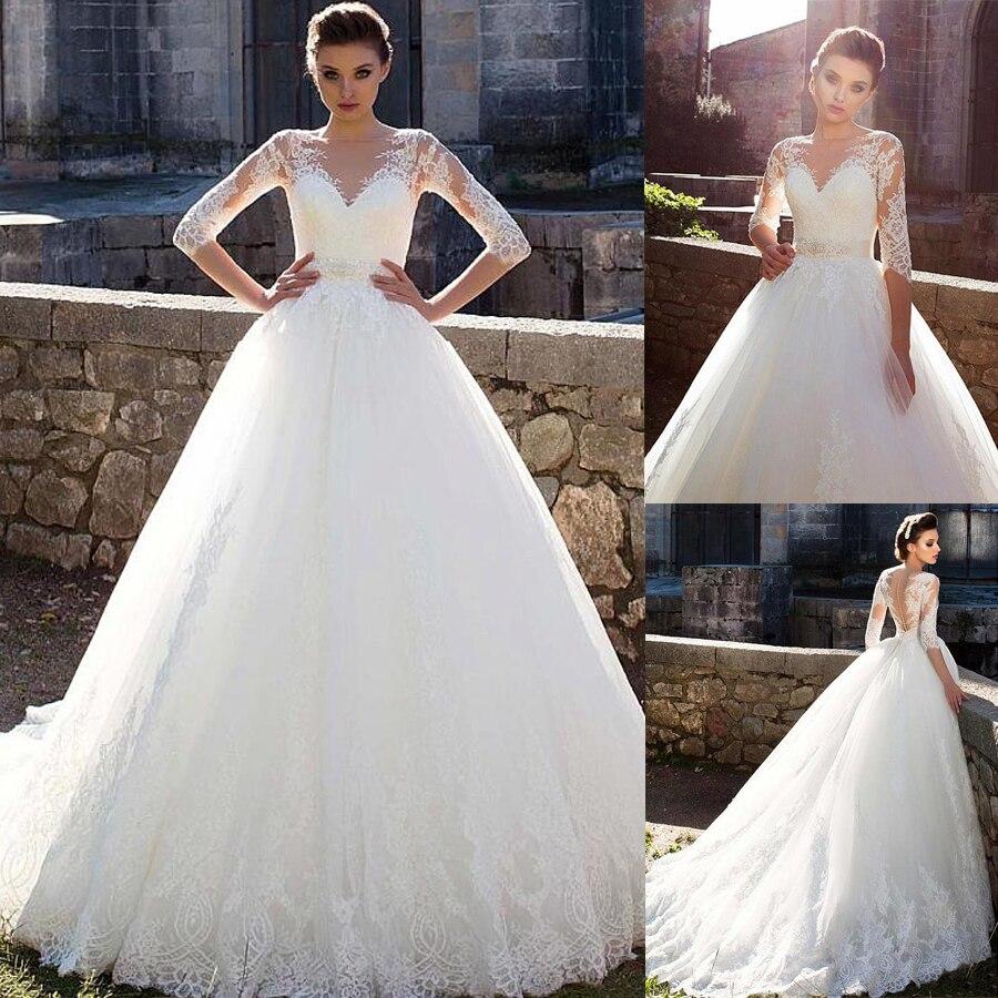 Joli Tulle bijou décolleté une ligne robe de mariée avec dentelle Appliques manches longues robe de mariée vestido de noiva sereia