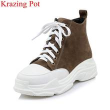 2018 mode flock lace up plattform runde kappe dicken boden frauen stiefeletten casual urlaub zunehmende warme winter schuhe L31(China)