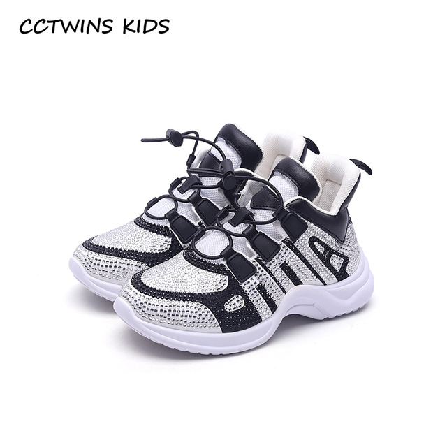 CCTWINS KIDS 2018 Autumn Children Fashion Slip-On Sport Sneakers Kid Rhinestone Casual Shoes Baby Girl Mesh Black Brand Trainer