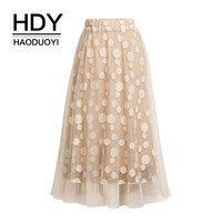 HDY Haoduoyi Lace Mesh Skirts Women Dot Printed Voile Black Skirt With Lining Sweat Casual Girls