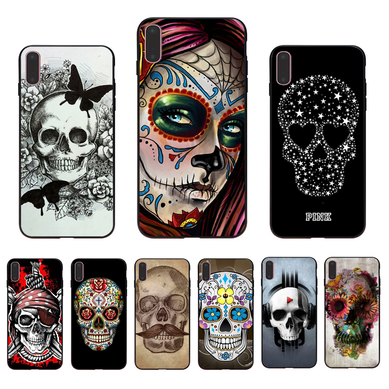 IMIDO Grim Reaper Skull Skeleton Capa design black silicone case For iPhone Apple 5 6 7 8  5/6s X XS XR XSmax 6/6S/7/8plus shell
