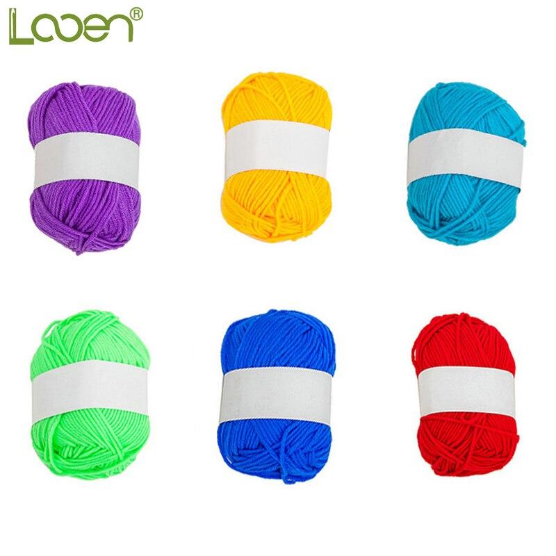 Looen ruční řemeslo DIY pletení příze pro háčkování měkké bavlněné příze koule smíšené barvy 25g / ks 3ks v 1 balení krásné příze