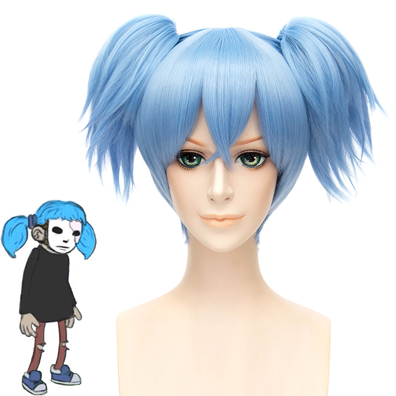 Sallyface Sally Face Sally Sal Cosplay Wig Blue Short Clip-on Ponytails Wig Halloween Carnival Cosplay Costume Accessories