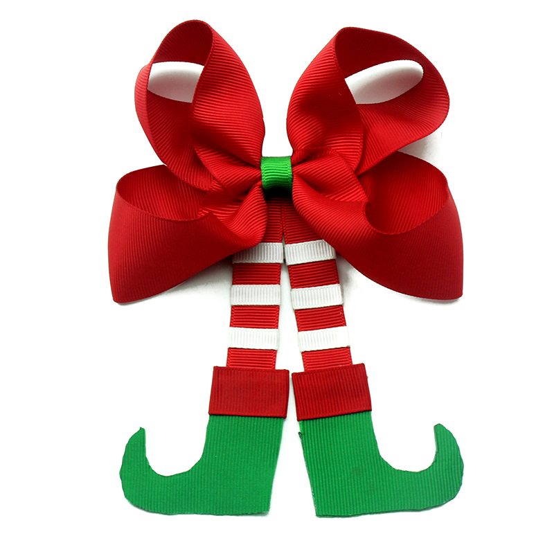 New 7 Inch Christmas  Hat Cheer Bows Multicolor Elastic Hair Bands Grosgrain Ponytail Hair Bows For Kids Girls Hair Accessories