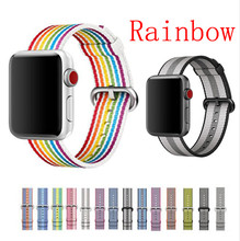 Rainbow Woven Nylon Stripe Strap for Apple Watch Band 42mm 38mm 40mm 44mm Sport Loop for iwatch Series 4 3 2 1(China)