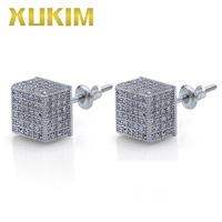 Xukim Jewelry Wholesale Iced Out Square Stud Earrings AAA Cubic Zirconia Hip Hop Jewelry Party Gift Rapper Punk Rock Style