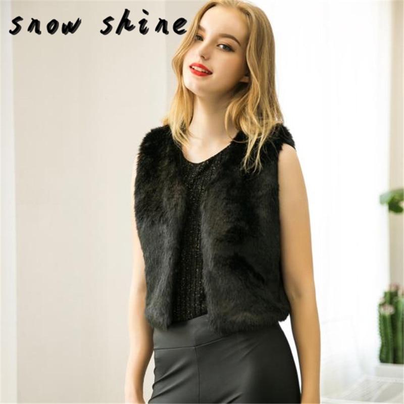 snowshine YLIW Women Fashion Vest Sleeveless Coat Outerwear Long Hair Jacket  free shipping
