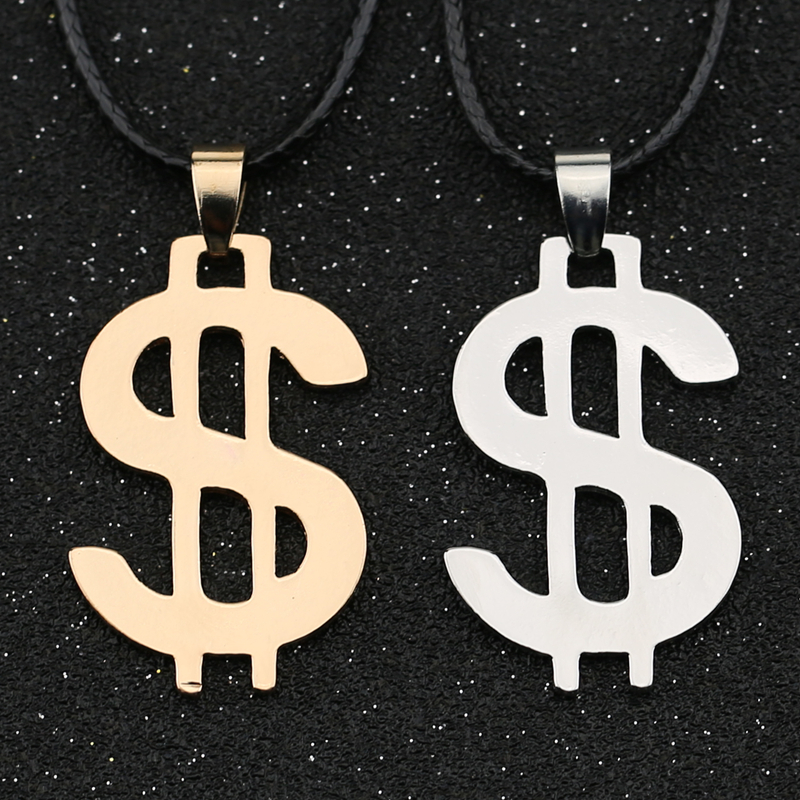 Dollar Necklace Money American US Dollar Sign Symbol Logo Silver Color Pendant Fashion New Stainless Steel Jewelry Men Wholesale(China)
