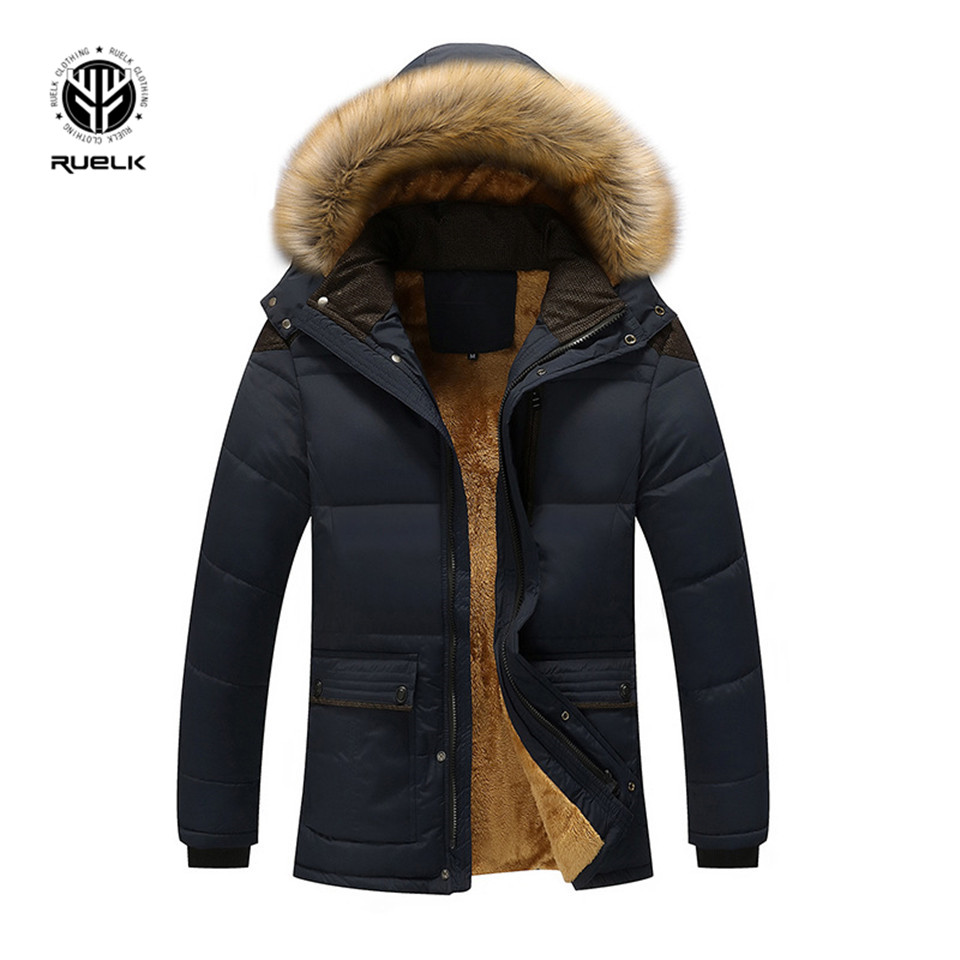 RUELK Fur Collar Hooded Men Winter Jacket 2019 New Fashion Warm Wool Liner Man Jacket and Coat Windproof Male   Parkas   Casaco