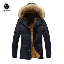 RUELK Fur Collar Hooded Men Winter Jacket 2019 New Fashion Warm Wool Liner Man Jacket and Coat Windproof Male Parkas Casaco