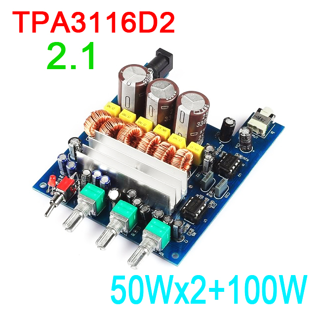 TPA3116D2 2.1 50Wx2+100W HIFI digital subwoofer amplifier AMP board 12v 24V CAR FOR DIY household speaker image