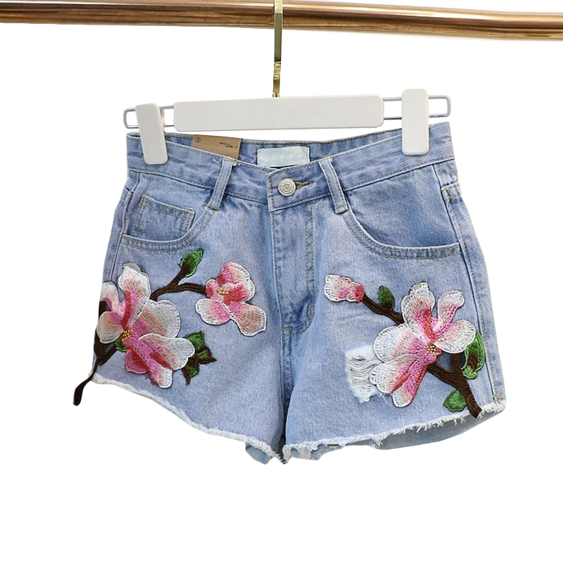 2018 New Women Summer   Shorts   Rose Floral Embroidery Denim   Shorts   Ripped High Waist Irregular   Shorts   Female #5027
