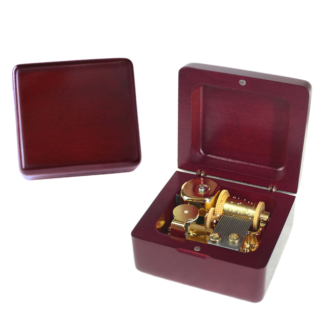 Red Wood Wind-Up Music Box
