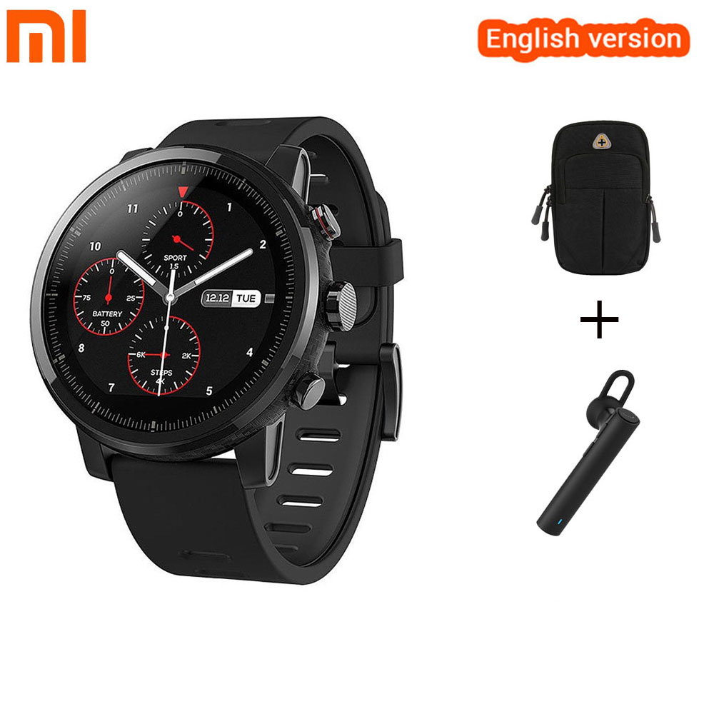 Xiaomi Huami Amazfit 2 Amazfit Stratos Pace 2 English Version With GPS PPG Heart Rate Monitor 5ATM Waterproof Smart Watch huami amazfit heart rate smartband