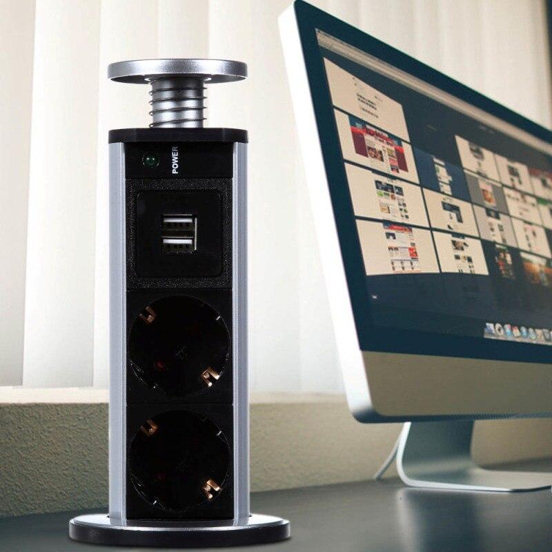 220 V 16A tirar POP eléctrico 3 enchufes 2 USB salida hembra cocina Socket escritorio para encimeras de encimera de enchufe de la UE