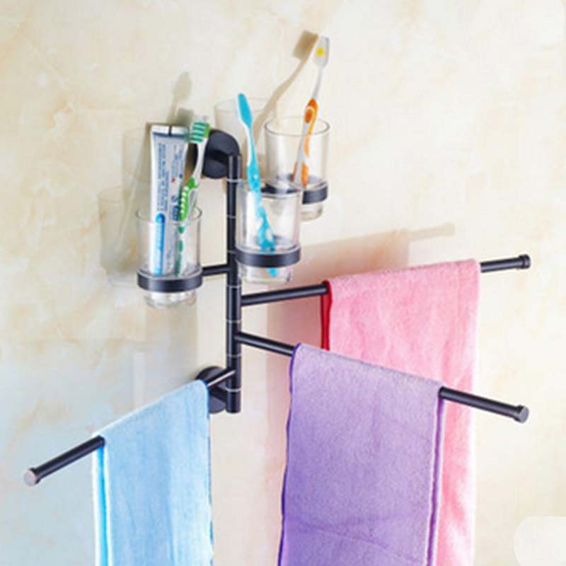 Oil Rubbed Bronze Solid Brass Towel Rack Holder Swivel 3 Towel Bars W/ Tooth Brush Holder Cups ceramic oil rubbed bronze crystal hanger towel rack holder single towel bar new