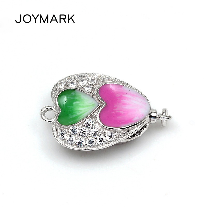 Trendy Heart Shape Enameled Zircon Micro Pave 925 Sterling Silver Box Clasps For Pearl Gemstone Necklace Bracelet SC BC216