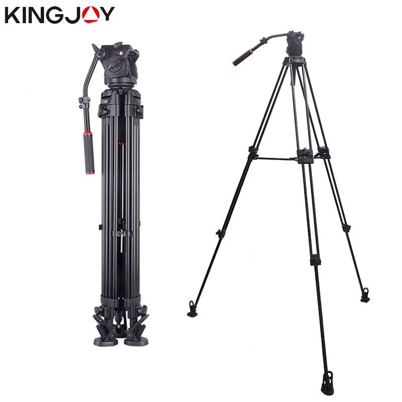 KINGJOY Officielles VT-3500 + VT-3530 Professionnel Vidéo Caméra Trépied Support Stable Fluide D'amortissement Trépied Kit Pour Tous Les Modèles