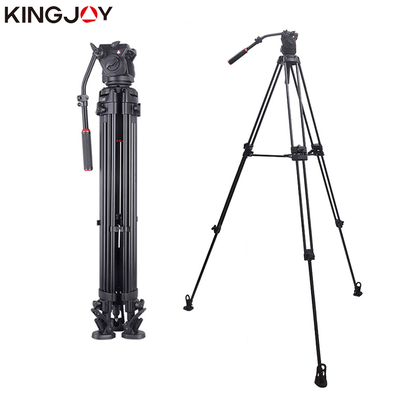 KINGJOY officiel VT-3500 + VT-3530 professionnel caméra vidéo trépied Stable fluide amortissement trépied Kit pour tous les modèles