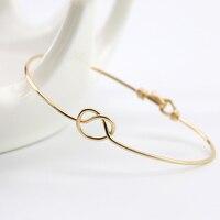 Dainty Knot Bangle Bracelet 14k Gold Filling Sterling Silver Bangle Bracelet Wire Wrap Personalized Bracelet Bridesmaid