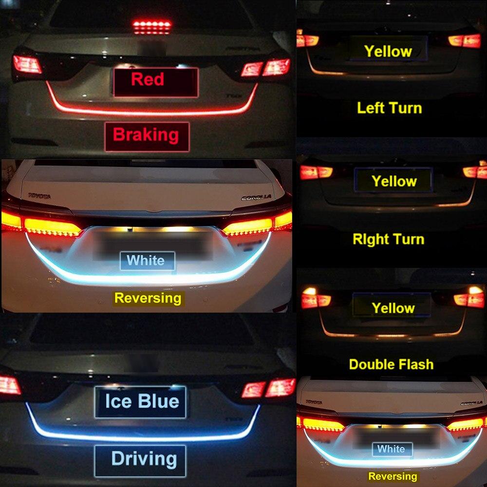 Ice Blue Red Yellow White Rear Trunk Tail Light LED Strip Lighting Dynamic Streamer Brake Turn Signal Reverse Led Warning Light