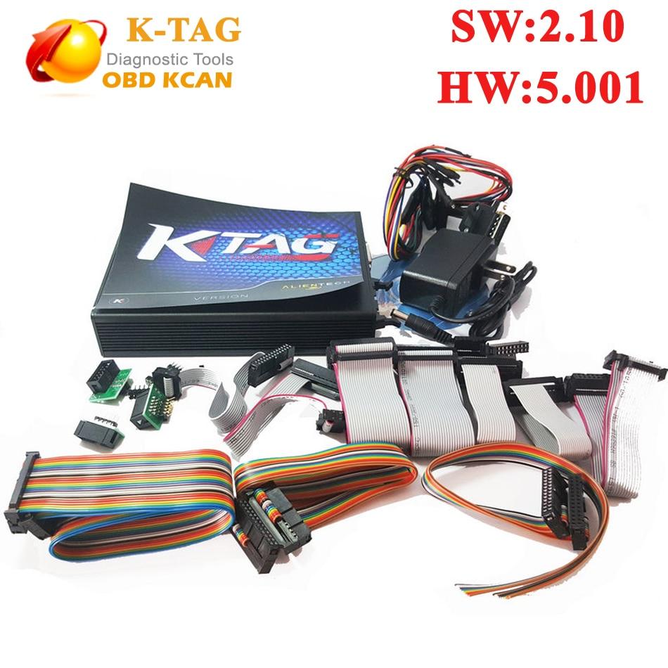Prix pour V5.001 KTAG K-TAG Programmation de L'ECU Outil maître version matériel 5.001 ktag v2.10 soutien mult-langue ECU Chip Tuning