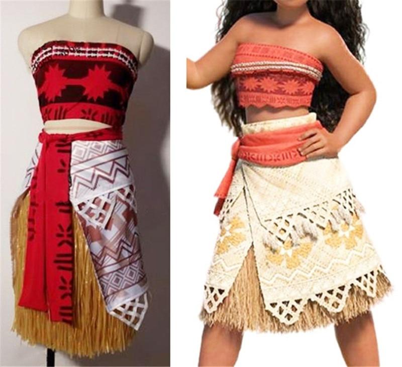 Custom Made Newest Moana Princess Cosplay Costume Sexy Halloween Costume  Movie Moana For Adult Women Party Dress Skirt