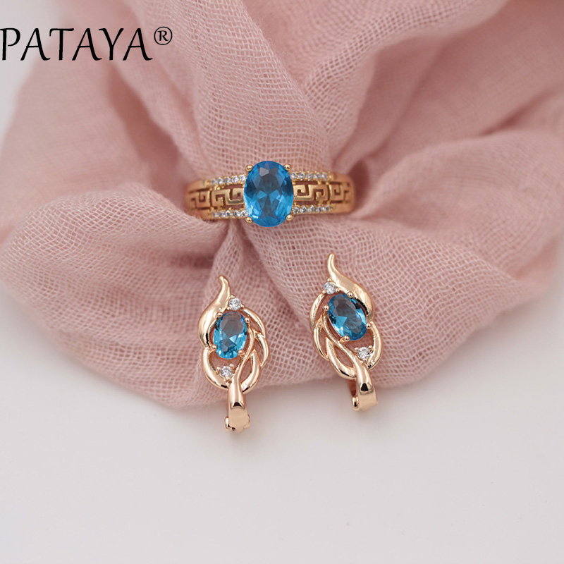 PATAYA New Arrivals Women 585 Rose Gold Eardrop Vintage Earrings Rings Sets Blue Oval Natural Zirconia Fine Exclusive Jewelry