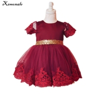 Xemonale Mini Toddler Kids Baby Girls Dress New Brand Lace Bow Wedding Party Dress Party Tutu Formal Gown Princess Dress
