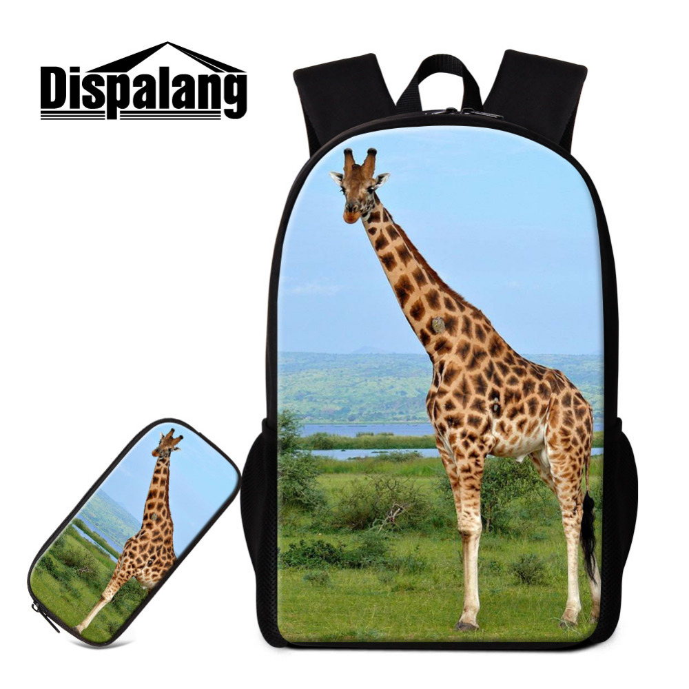 Dispalang Women Men Backpack and Pencil Case for School Cute Giraffe Print Children Back Pack With Pencil Bag Kids School Bags