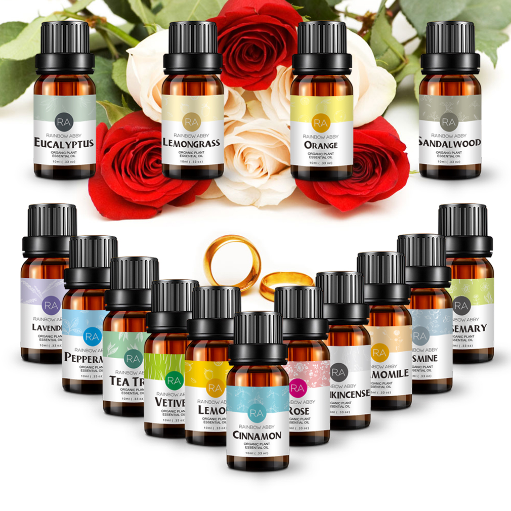 10ml Essential Oils Kits Peppermint Oil Jasmine Orange Natural Aroma Oil Body Massage Oil 6/8/12/14/16 Multiple Sets Optional