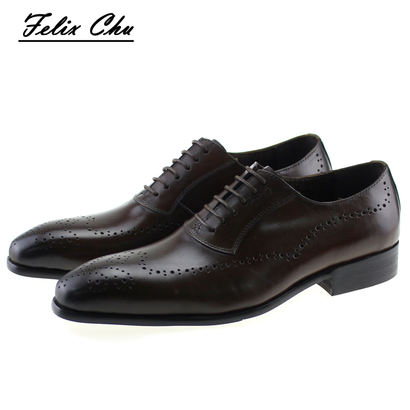 2017 Classic Polka Dot Lace Up Men Brogue Dress Shoes Genuine Leather Brown Black Formal Office Business Man Suit Shoe E71815-21 british fashion men business office formal dress breathable genuine leather shoes lace up oxford shoe pointed toe teenage sapato