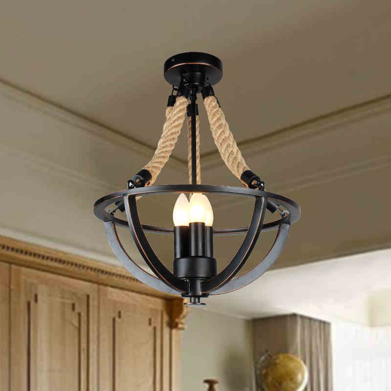 3 Heads American Vintage Loft Iron Rope Ceiling Lights Aisle Lamp Foyer Lights Bar Restaurant Hlaf Ceiling Light Free Shipping modern retro balcony entranceway aisle lights american brief iron single head christmas bells ceiling light free shipping