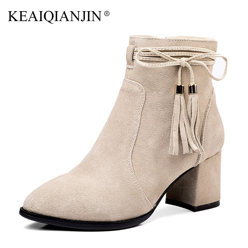 KEAIQIANJIN Woman Fringe High Heels Chelsea Boots Plus Size 33 - 43 Pointed Toe Autumn Winter Ankle Boots Genuine Leather Shoes fashion fringe women short chelsea boots black genuine leather thick high heels shoes woman pointed toe metal buckle booties