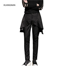 Men Fashion Casual Pant Skirt Trousers Male Punk Gothic Style Stage Show Costumes Slim Fit Harem Pant