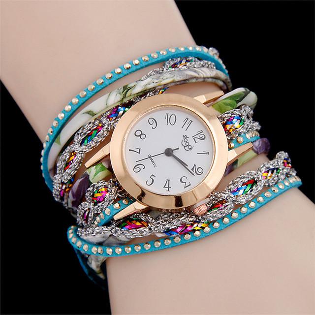 Amecior Brand Fashion Luxury Women charming Fine Leather Band Winding Analog Quartz Movement Wrist Bracelet Watch