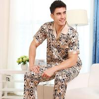High Quality Summer Autumn New Sexy Silk Pajamas Men Short Sleeve Suit Men S Silk Pijama