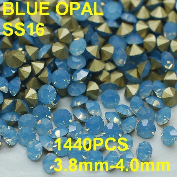 SS16 1440 unids/bolsa Moda Opal Piedras para el Arte Del Clavo 3.8mm-4.0mm Point Volver Azul Color de Uñas de Arte piedras Decoración
