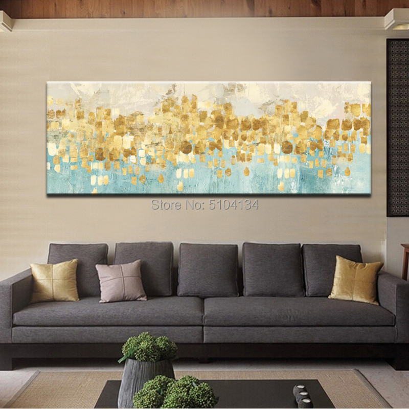 Abstract Gold Money Sea Wave hand Oil Painting on Canvas Modern Art Wall Picture for Living Room Bedroom decoration in Painting Calligraphy from Home Garden