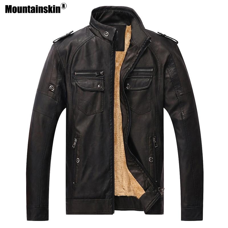 Mountainskin 2018 새로운 가을 겨울 남자 따뜻한 자 켓 pu 가짜 가죽 자 켓 남자 코트 벨벳 겉옷 망 브랜드 의류 sa417-에서재킷부터 남성 의류 의  그룹 3