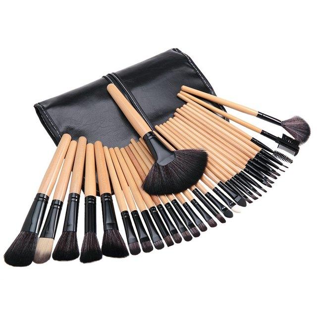Profesional 32 unids Cosmético de los Cepillos del Maquillaje Polvos Base Brush Set de Herramientas de Cosméticos Con Bolsa de Cuero Herramienta de La Belleza 2016