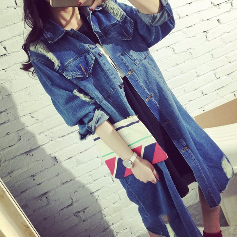 Womens Autumn Jackets And Coats 2016 New Design Frayed Washed Denim Outwear Girls Casual Slim Pocket Clothing New Street Fashion (6)