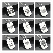 Perfect JL Terror skeleton B Western Style Army card Personalized Diy Letters Pendant Steel Necklace personality Gifts KLT02(China)