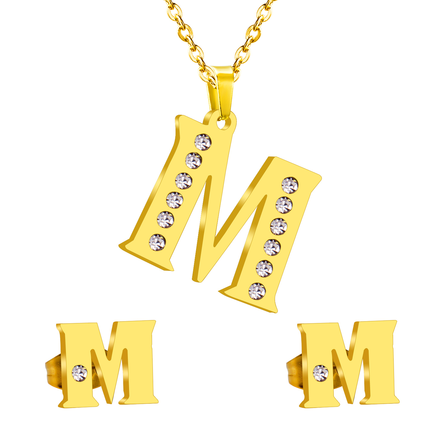 Vintage Stainless Steel Initial Alphabet M Letter Jewelry Sets Classic  Style Bling Crystal Gold Necklace And
